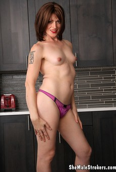 She Male Strokers: Sexy Trans Girl Is Whippin Up Something Sweet For You To Eat!